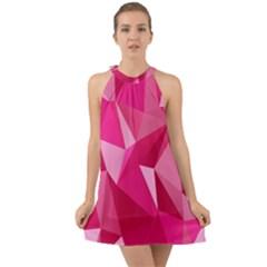 Pattern Halftone Geometric Halter Tie Back Chiffon Dress