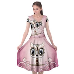 Cute Little Owl With Hearts Cap Sleeve Wrap Front Dress by FantasyWorld7
