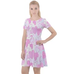 Valentine Background Hearts Bokeh Cap Sleeve Velour Dress  by Nexatart