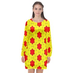 Pattern Red Star Texture Star Long Sleeve Chiffon Shift Dress