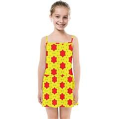 Pattern Red Star Texture Star Kids  Summer Sun Dress