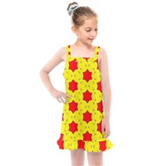 Pattern Red Star Texture Star Kids  Overall Dress by Nexatart