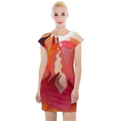 Fire Abstract Cartoon Red Hot Cap Sleeve Bodycon Dress