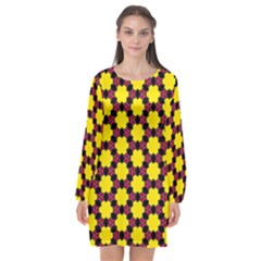 Pattern Colorful Background Texture Long Sleeve Chiffon Shift Dress  by Nexatart