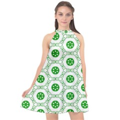 White Background Green Shapes Halter Neckline Chiffon Dress