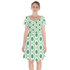 White Background Green Shapes Short Sleeve Bardot Dress by Nexatart
