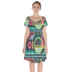 Background Colors Abstract Shapes Short Sleeve Bardot Dress by Nexatart