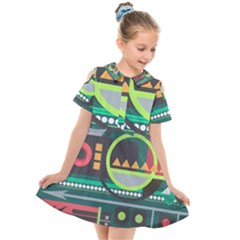 Background Colors Abstract Shapes Kids  Short Sleeve Shirt Dress by Nexatart