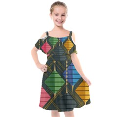 Background Colors Non Seamless Kids  Cut Out Shoulders Chiffon Dress by Nexatart