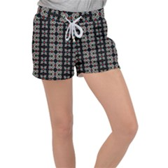 Pattern Black Background Texture Women s Velour Lounge Shorts