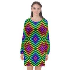 Pattern Rainbow Colors Rainbow Long Sleeve Chiffon Shift Dress  by Nexatart