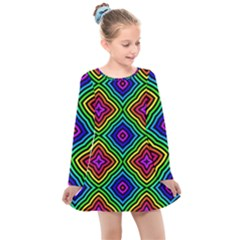 Pattern Rainbow Colors Rainbow Kids  Long Sleeve Dress by Nexatart