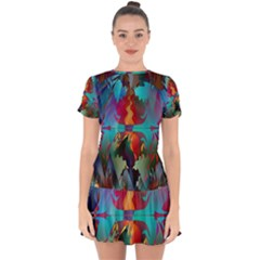 Background Sci Fi Fantasy Colorful Drop Hem Mini Chiffon Dress by Nexatart
