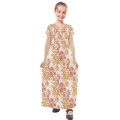 Scrapbook Floral Decorative Vintage Kids  Short Sleeve Maxi Dress by Nexatart