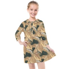 Scrapbook Leaves Decorative Kids  Quarter Sleeve Shirt Dress by Nexatart