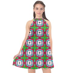 Squares Square Pattern Halter Neckline Chiffon Dress