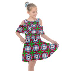 Squares Square Pattern Kids  Shoulder Cutout Chiffon Dress by Nexatart