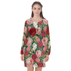 Roses Repeat Floral Bouquet Long Sleeve Chiffon Shift Dress