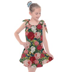 Roses Repeat Floral Bouquet Kids  Tie Up Tunic Dress by Nexatart