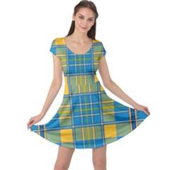 Plaid Tartan Scottish Blue Yellow Cap Sleeve Dress