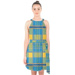 Plaid Tartan Scottish Blue Yellow Halter Collar Waist Tie Chiffon Dress by Nexatart