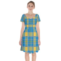 Plaid Tartan Scottish Blue Yellow Short Sleeve Bardot Dress by Nexatart