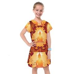 Buddah With Light Effect Kids  Drop Waist Dress by FantasyWorld7