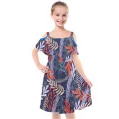 Summer Leaves Kids  Cut Out Shoulders Chiffon Dress by charliecreates