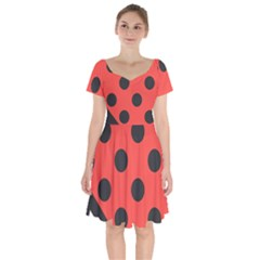 Bug Cubism Flat Insect Pattern Short Sleeve Bardot Dress