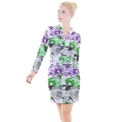 Horse Animal World Green Button Long Sleeve Dress by BangZart