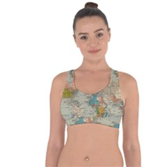 World Map Vintage Cross String Back Sports Bra by BangZart