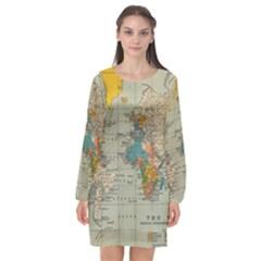 World Map Vintage Long Sleeve Chiffon Shift Dress  by BangZart