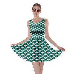 Pattern Green Blue Grey Hues Skater Dress