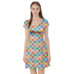 Seamless Pattern Background Abstract Short Sleeve Skater Dress