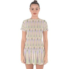 Spoon Pattern Illustrator Green Drop Hem Mini Chiffon Dress