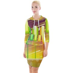 Abstract Landscape Background Quarter Sleeve Hood Bodycon Dress
