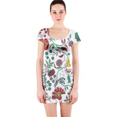 Flowers Garden Tropical Plant Short Sleeve Bodycon Dress