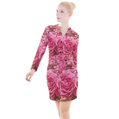 Roses Noble Roses Romantic Pink Button Long Sleeve Dress