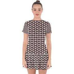Coffee Beans Pattern Illustrator Drop Hem Mini Chiffon Dress