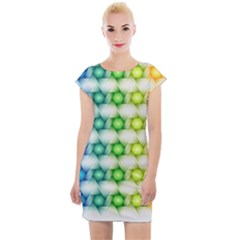 Background Colorful Geometric Cap Sleeve Bodycon Dress