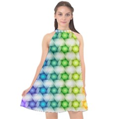 Background Colorful Geometric Halter Neckline Chiffon Dress