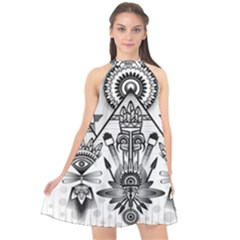 Ancient Parade Ancient Civilization Halter Neckline Chiffon Dress