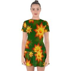 Flower Pattern Floral Non Seamless Drop Hem Mini Chiffon Dress