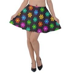 Pattern Background Colorful Design Velvet Skater Skirt