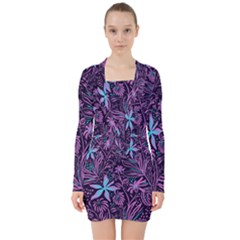 Stamping Pattern Leaves Drawing V Neck Bodycon Long Sleeve Dress