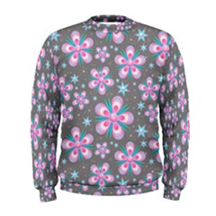 Seamless Pattern Flowers Pink Men s Sweatshirt
