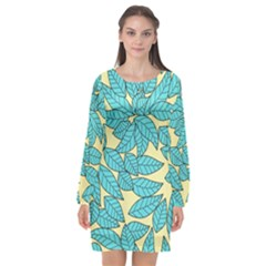 Leaves Dried Leaves Stamping Long Sleeve Chiffon Shift Dress  by Pakrebo