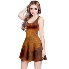 Orange Warm Hues Fractal Chaos Reversible Sleeveless Dress