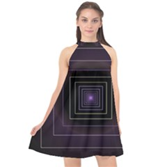 Fractal Square Modern Purple Halter Neckline Chiffon Dress