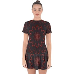 Fractal Glowing Abstract Digital Drop Hem Mini Chiffon Dress